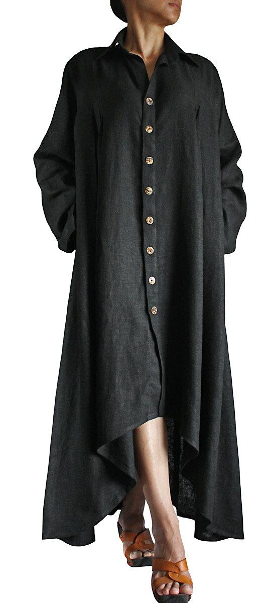 4161a5947619 ヘンプ素材をたっぷりと使った迫力あるドレスコート。ロング丈で颯爽と歩く姿が絵になるカッコいい逸品です。 しなやかな感触が癖になる柔かヘンプ素材です。
