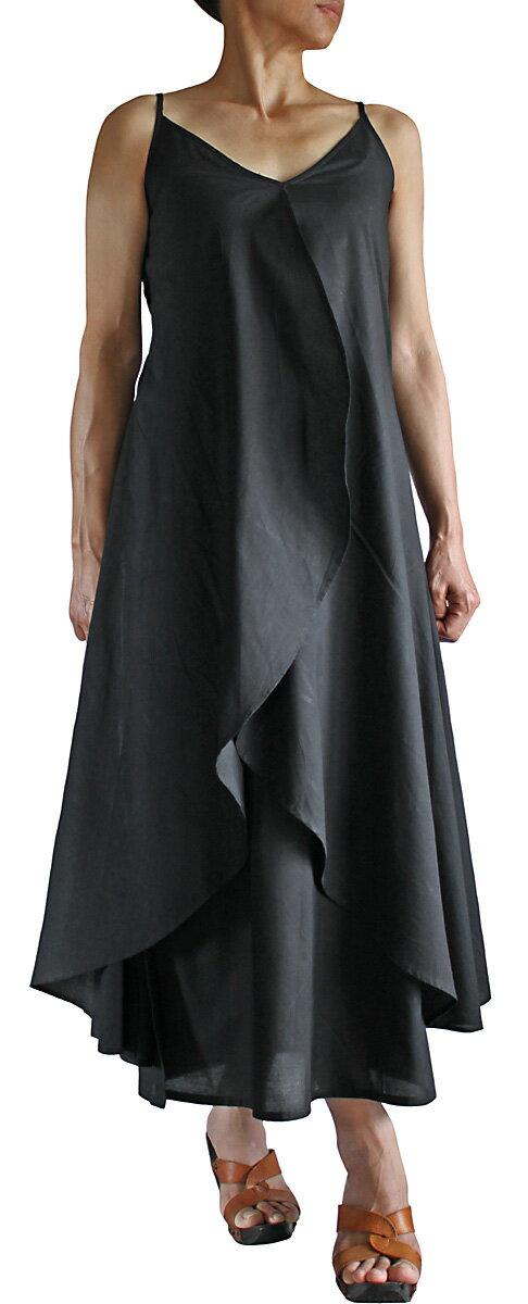 モスリン ラップ風スリップドレス(黒)