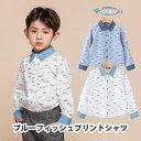 単品 韓国子供シャツ 男の子 長袖シャツ ブルー ホワ