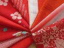 【中古】赤系はぎれ 正絹古布10色セット☆小物作り・パッチワークに