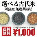 [送料無料][無農薬栽培][合計390g] 古代米 3袋セット/ 黒米、緑米、赤米 / 無農薬栽培