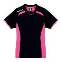 [DESCENTE]デサントバレー半袖セカンダリーシャツ(DVB5124W)(BPK)ブラック/ピンクの画像
