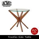 ACME FURNITURE アクメファニチャー TRESTLES SIDE TABLE トラッセルサイドテーブル ガラス ウッド 木製 円 丸 サイドテーブル...