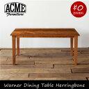 ACME Furnitureの引出収納付きの重厚な雰囲気のダイニングテーブル天板に施された無垢材をスライスして作ったヘリンボーンが印象的です