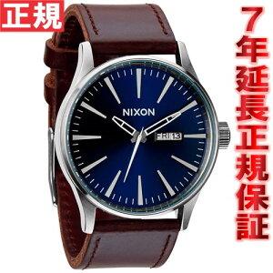 ニクソンNIXONセントリーレザーSENTRYLEATHER腕時計メンズブルー/ブラウンNA1051524-00