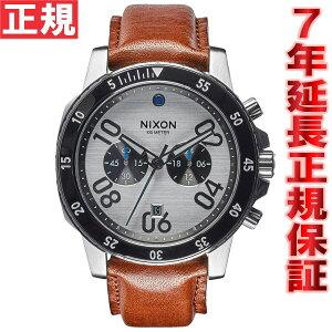 ニクソンNIXONレンジャークロノレザーRANGERCHRONOLEATHER腕時計メンズクロノグラフシルバー/サドルNA9402092-00