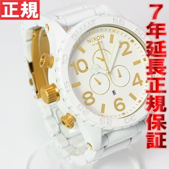 Nixon NIXON 51-30 CHRONO Chrono Watch-men's all white / gold chronograph NA0831035-00
