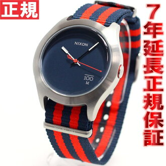 Nixon NIXON Quad QUAD watch men's / women's Navy / red nylon NA3441152-00