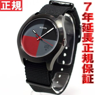 Nixon NIXON Quad QUAD watch men's / women's black / dark red nylon NA3441167-00