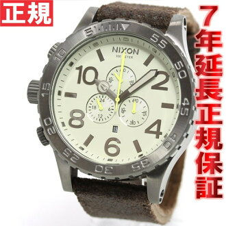 Nixon NIXON 51-30 Chrono leather】all 51-30 CHRONO LEATHER watch men's chronograph gunmetal / Brown NA1241388-00
