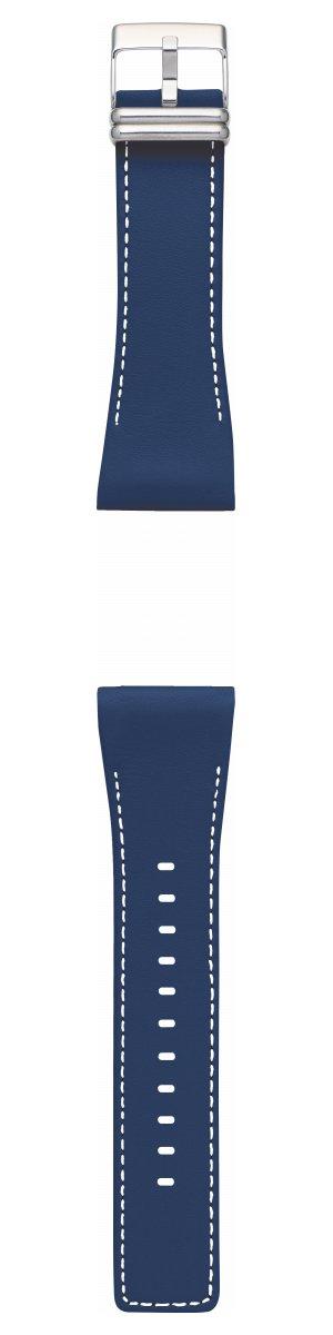 ポイント最大28倍は26日1時59分まで!EPSON smart canvas スムースレザー・ネイビーブルー ステッチ入り 金具シルバー 替えバンド メンズ レディース W1BZZ30020