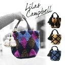 Lilas Campbell ミニ トート バッグ 秋 冬 レディース 女 タッセル もこもこ ランチ バッグ ギフト プレゼント 格子柄 ダイヤ チェック 〓ご予約商品 9月中旬頃発送予定〓