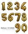 数字の風船【ゴールド】送料無料 約40cm ナンバーバルーン お誕生日 お祝い 飾り付け バースデイ パーティー フィルム風船 532P17Sep16