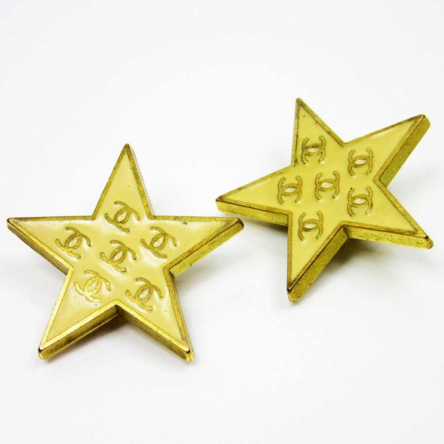 シャネル CHANEL イヤリング ココマーク 星型 ◆ベージュxゴールド 金属素材◆定番人気【】 ◆レディース - t10020 【】シャネル イヤリング◆カードOK!BrandValue カード分割