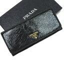 プラダ PRADA 二つ折り長財布◆ブラック パテントレザー◆定番人気【中古】 ◆レディース - t10397