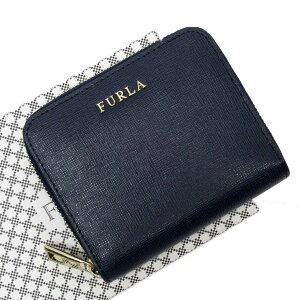 フルラ FURLA ラウンドファスナー財布 ネイビーxゴー
