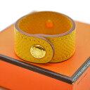 エルメス HERMES グローブホルダー ノマド ◆イエローxゴールドカラー レザーx金属素材◆定番人気【中古】手袋ホルダー ◆レディース - k7824