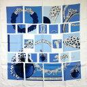 カルティエ Cartier スカーフ ◆ホワイトxブルー シルク◆定番人気【中古】 ◆レディース - h14402