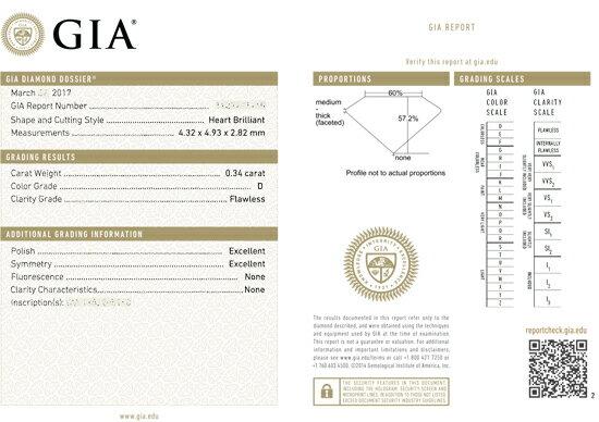 ダイヤモンドルース, ハートシェイプ, 0.34ct, Dカラー, FL(フローレス), 研磨状態:EX,  対称性:EX, タイプ2A(AGT), 蛍光性:NONE, ※INTERNAL GRAINING及びSURFACE GRAINING(結晶成長、結晶構造の不規則性)はありません。 鑑定機関: GIA(米国宝石学会) 品質には自信を持っています。ベルギー、イスラエル等から直輸入した良質なGIA鑑定書付きダイヤモンドを安心してお選びいただけます。