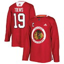 アディダス メンズ シャツ トップス Jonathan Toews Chicago Blackhawks adidas Practice Player Jersey Red