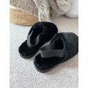 ショッピングSlip エイソス メンズ サンダル シューズ ASOS DESIGN premium sheepskin slipper with elastic strap on chunky sole Black