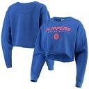 ショッピングスウェット ジャンクフード レディース パーカー・スウェットシャツ アウター LA Clippers Junk Food Women's Cut Off Moderate Crop Fleece Crew Sweatshirt Royal