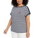 ショッピングキャミソール ケレンスコット レディース カットソー トップス Plus Size Anchor Stripe Cotton Top, Intrepid Blue