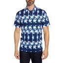ショッピングポロシャツ ブガッチ メンズ ポロシャツ トップス Printed Knit Polo NAVY