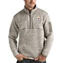 ショッピングスウェット アンティグア メンズ パーカー・スウェットシャツ アウター Pittsburgh Steelers Antigua Fortune QuarterZip Pullover Jacket Oatmeal