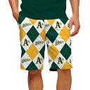 ショッピングマウス ラウドマウス メンズ ハーフ&ショーツ ボトムス Oakland Athletics Loudmouth Argyle StretchTech Shorts Green/Yellow