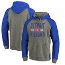 ショッピングアンティーク ファナティクス メンズ パーカー・スウェットシャツ アウター Detroit Pistons Fanatics Branded Ash Antique Stack Tri Blend Raglan Pullover Hoodie