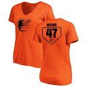 ショッピングtv ファナティクス レディース Tシャツ トップス Baltimore Orioles Fanatics Branded Women's Personalized RBI Slim Fit V-Neck T-Shirt Orange