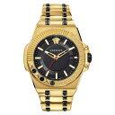 ショッピングバングル ヴェルサーチ メンズ ブレスレット・バングル・アンクレット アクセサリー Chain Reaction Bracelet Watch, 45mm Gold/ Black/ Gold