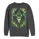 ショッピングFleece ディズニー メンズ パーカー・スウェットシャツ アウター Men's Lion King Scar Evil Geometric, Crewneck Fleece Dark Gray