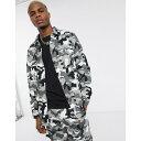 プルアンドベア メンズ ジャケット&ブルゾン アウター Pull&Bear utility jacket in black and white camo Green