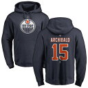 ショッピングNO ファナティクス メンズ パーカー・スウェットシャツ アウター Edmonton Oilers Fanatics Branded Personalized Team Authentic Pullover Hoodie Navy
