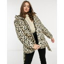 ショッピングDC ピーシーズ レディース コート アウター Pieces padded coat with hood in leopard Multi