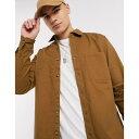 ショッピングタバコ トップマン メンズ シャツ トップス Topman cotton twill shirt in tobacco Brown