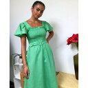 アンドアザーストーリーズ レディース ワンピース トップス & Other Stories linen square neck belted midi dress in green 211 green