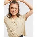 ショッピングオーガニック モンキ レディース Tシャツ トップス Monki Pia organic cotton female symbol cropped t-shirt in beige Beige