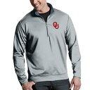 ショッピングセーター アンティグア メンズ ニット&セーター アウター NCAA Leader Quarter-Zip Pullover Oklahoma Sooners Grey
