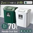 ゴミ箱 ダストボックス【あす楽】【送料無料】【アスベル ASVEL】分別 ダストボックスSPハンドルペール 70L【2個セット】05P27May16