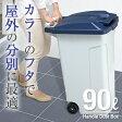 ゴミ箱 ダストボックス【送料無料】【アスベル ASVEL】分別 ダストボックスハンドルペール 90Lキャスター付き