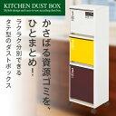 ゴミ箱 ごみ箱 ダストボックスN資源ゴミ 分別ワゴン 3段 ワイド 43Lキャスター付