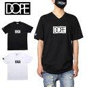 【SALE】ドープ DOPE Tシャツ 半袖 半袖Tシャツ Vネック メンズ レディース ブランド 綿100% プリント ロゴ 大きいサイズ おしゃれ かっこいい BOX LOGO V-NECK TEE 20DP-SP28B ブラック ホワイト M L XL XXL
