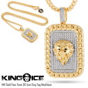 【SALE 10 OFF】キングアイス 14Kゴールド コーティングドックタグ ネックレス KING ICE 14K GOLD TWO-TONE 3D LION DOG TAG NECKLACE