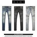mnml バイカ—デニム ミニマル M14 STRETCH DENIM BLUE メンズ スキニー スリム ストレッチ 裾ジップデニムパンツ 28 29 30 32 34 36 38