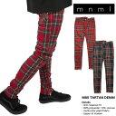 mnml ミニマル 裾ZIP(ジップ)M85 TARTAN CHECK DENIM チェックパンツ 28/29/30/32/34/36/38 グリーン レッド