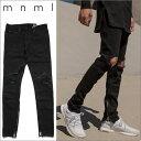 【送料無料】ミニマル 裾ZIP(ジップ) ダメージクラッシュジーンズ mnml M1 DENIM BLACK 17ML-SP150P/クラッシュデニムパンツ/スキニー/B系/ストリート系メンズファッション