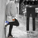 mnml ストレッチ 裾ZIPジップ ダメージクラッシュジーンズ mnml M1 STRETCH DENIM BLACK/ミニマル デニム/クラッシュデニムパンツ/スキ..